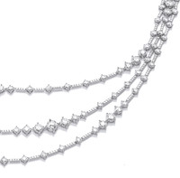 Silver and Cubic Zirconia Triple Strand Retro Necklace