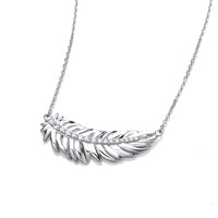 Silver and Cubic Zirconia Feather Spirit Necklace