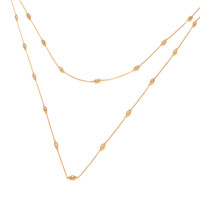 Silver, CZ and Gold Vermeil Single Strand Necklace