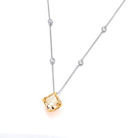 Silver and Citrine Cubic Zirconia Vintage Style Necklace