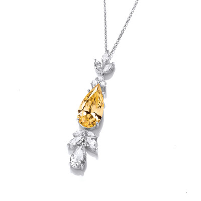 Silver and Citrine Cubic Zirconia Belle Epoque Style Necklace