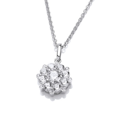 Silver and Cubic Zirconia Forget Me Not Necklace