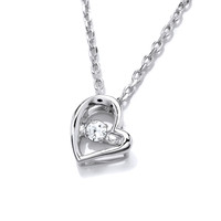 Silver and Cubic Zirconia Mini Dancing Heart Necklace