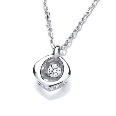 Silver and Cubic Zirconia Mini Dancing Oval Necklace