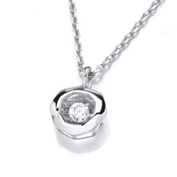 Silver and Cubic Zirconia Mini Dancing Circle Necklace