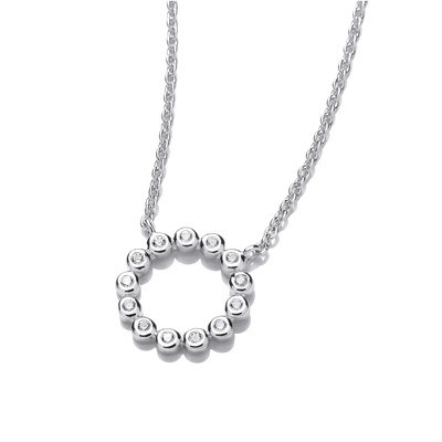 Silver and Cubic Zirconia Circle of Life Necklace