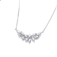 Silver and Cubic Zirconia Double Iris Necklace