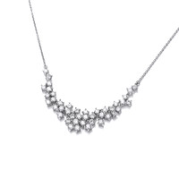 Silver and Cubic Zirconia Cluster Necklace