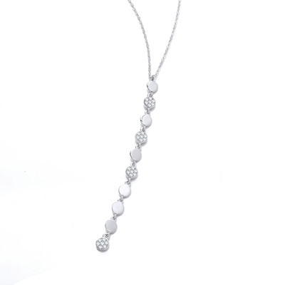 Silver and Cubic Zirconia Disco Necklace
