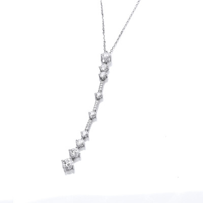 Silver and Cubic Zirconia Deco Style Drop Necklace
