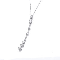 Silver and CZ Deco Style Drop Necklace