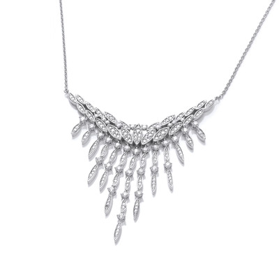 Silver and Cubic Zirconia Vintage Style Waterfall Necklace