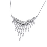 Silver and CZ Vintage Style Waterfall Necklace