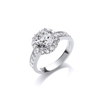 Silver and CZ Flora Ring