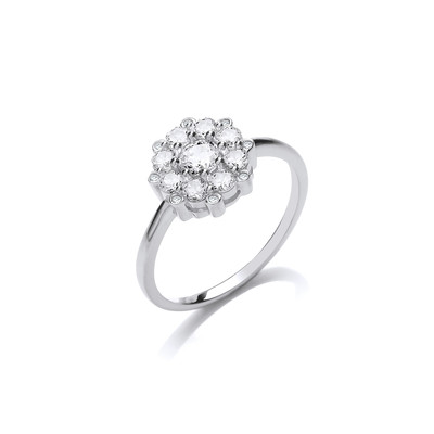 Silver and CZ Forget Me Not Ring