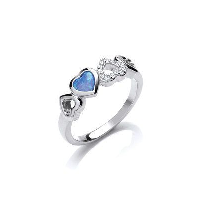 Silver, Cubic Zirconia & Blue Opalique Heart Ring