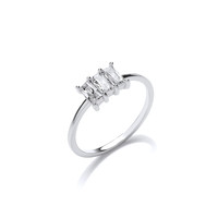 Silver and CZ Triple Baguette Ring