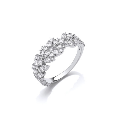 Silver and CZ Petals Ring