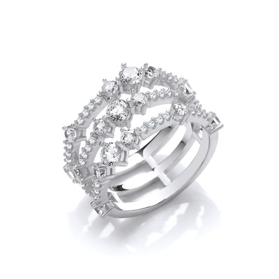 Silver and CZ Triple Strand Retro Ring