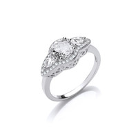 Silver and CZ Victorian Style Engagement Ring