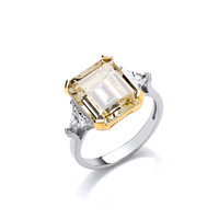 Silver and Citrine CZ Vintage Style Ring