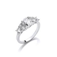Silver and CZ Elegant Solitaires Ring