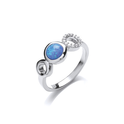 Silver, Cubic Zirconia & Blue Opalique Triple Circle Ring