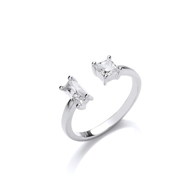Silver and Baguette CZ Open Ring