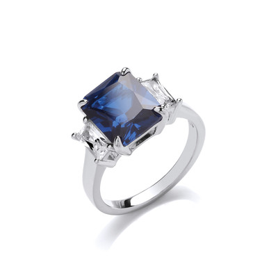 Silver and Sapphire Cubic Zirconia Victoria Ring
