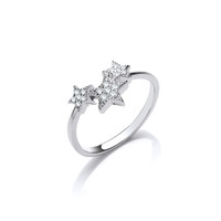 Silver and CZ Shooting Stars Ring