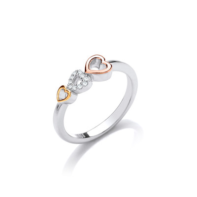 Silver, CZ and Gold Hearts Ring