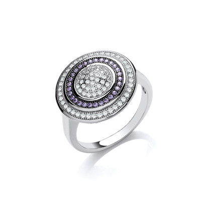 Silver and Amethyst  CZ Target Ring