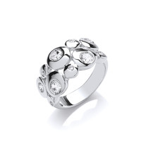 Silver and CZ Moon Bubbles Ring