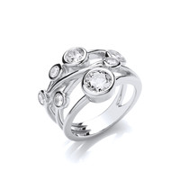 Silver and CZ Multi Strand Ring