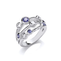 Silver and Tanzanite CZ Triple Band Ring