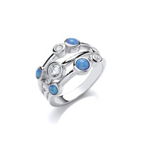 Silver, CZ and Blue Opalique Triple Band Ring