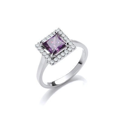 Silver and Amethyst CZ Deco Style Ring