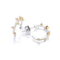 Silver, Cubic Zirconia and Gold Vermeil Boodled Hoop Earrings