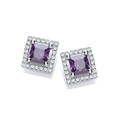 Silver & Amethyst Cubic Zirconia Deco Style Earrings