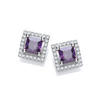 Silver and Amethyst CZ Deco Style Earrings