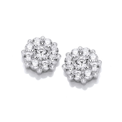 Forget Me Not Silver & Cubic ZIrconia Earrings