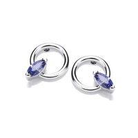 Silver and Tanzanite CZ Marquis Hoopla Earrings