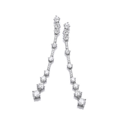 Silver & Cubic Zirconia Party Drop Earrings