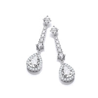Silver and CZ Regency Drop Earrings