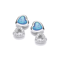 Silver, CZ and Blue Opalique Double Heart Earrings