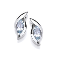 Silver and CZ 'Surfs Up' Earrings
