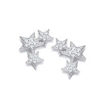 Silver and CZ Shooting Stars Earrings