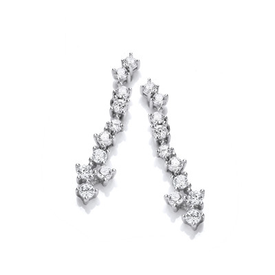 Silver & Cubic Zirconia Cluster Drop Earrings