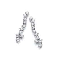 Silver and CZ Cluster Drop Earrings