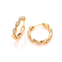 Silver, Cubic Zirconia and Gold Vermeil Lucky Eye Earrings